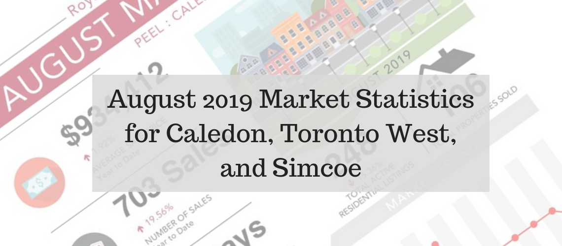 August 2019 Market Statistics for Caledon, Toronto West and Simcoe: New Tecumseth